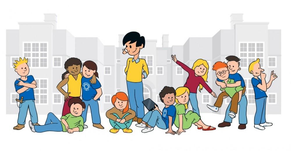 """Een groepje van vier jongens links achterin de klas lijkt niet erg op te letten tijdens de uitleg van de leerkracht. De grootste jongen van het groepje neemt het voortouw door er steeds doorheen te praten en de andere jongens doen mee. Als de leerkracht het in de gaten krijgt en zegt: """"Doen jullie ook…"""